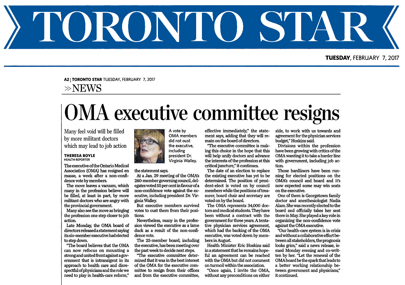 Toronto Star 2017-02-07 - OMA executive committee resigns